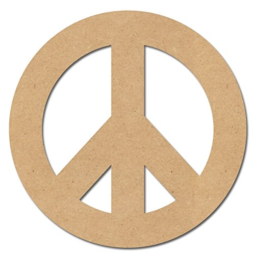 Wooden Peace Sign (Pressed Wood Symbols Wall Decor - Peace Sign - 10 Inches H)