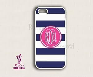 Monogram iPhone 5 Case - Blue stripes Circle iPhone Case, iPhone 5 Case, Mono...