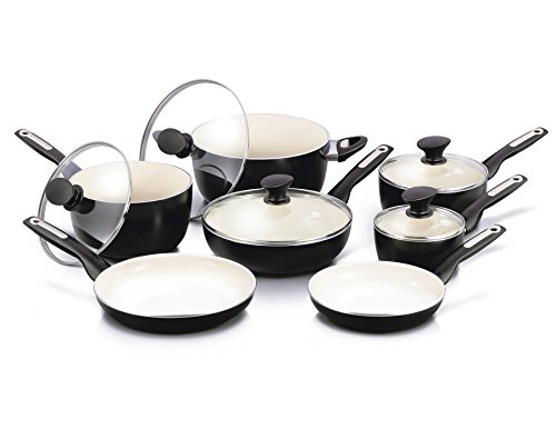 ramic Non-Stick Cookware Set, Black ()