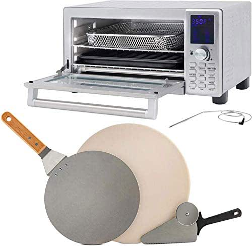 NUWAVE BRAVO XL 1800-watt Countertop Convection Oven with Flavor Infusion Technology (FIT) with Integrated Temperature Probe for Perfect Results; 12 Programmed Presets; 3 Fan Speeds; 5-Quartz Heating Elements with 3-Piece Brick Oven-Style Pizza Kit [1 Stainless Steel Pizza Peel; 1 Stainless Steel Pizza Cutter/Server; and 1 Pizza Stone Safe up to 1,100 Degrees Fahrenheit] (Bravo XL w/ Pizza Kit)