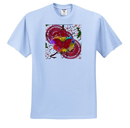 Blue Embossed Circles (3dRose Fantasy - Bright Red Abstract Circles With Embossed Look Butterfly - T-Shirts - Light Blue Infant Lap-Shoulder Tee (24M) (TS_265982_77))