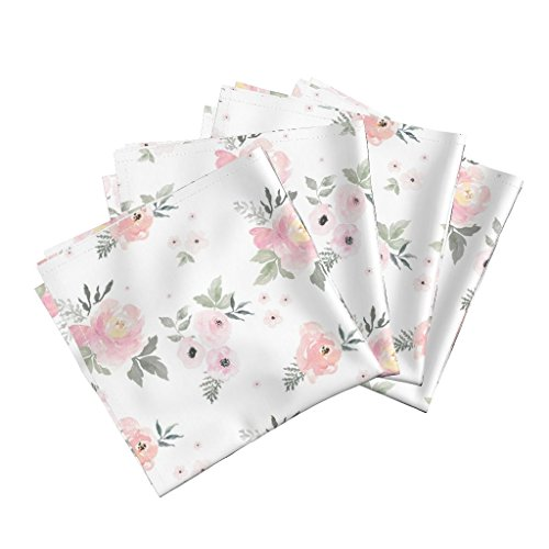 Blush Linen Cotton Dinner Napkins Baby Girl Floral Cottage Chic Cotton Nursery Decor Blush Roses Watercolor Pink Flowers Shabby by Shopcabin Set of 4 Dinner ()