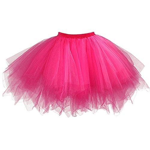 Feoya - Jupe Tutu Adulte Femme Ballet Jupe en Tulle Courte Multi Couches Lger pour Fte Danse Spectacle Taille lastique Rose Rouge