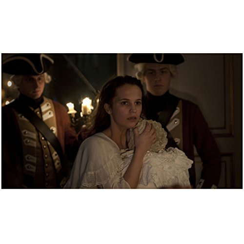 A Royal Affair Alicia Vikander as Caroline Holding Baby in Front of Red Coat Soldiers 8 x 10 inch photo