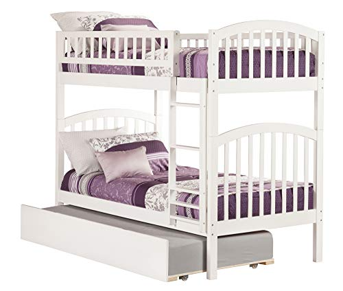 Atlantic Furniture AB64152 Richland Bunk Bed with Twin Size Urban Trundle, Twin/Twin, White