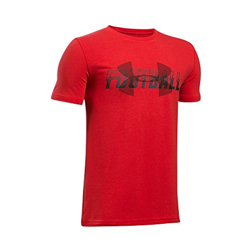 T-shirt Football Armour Under (Under Armour Boys' Football Overlay T-Shirt,Red (600)/Rapture Red, Youth Small)