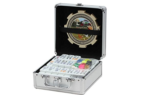 Set Mexican Train - Double 15 Numeral Pro Size Mexican Train & Chicken Domino Set in Aluminum Case