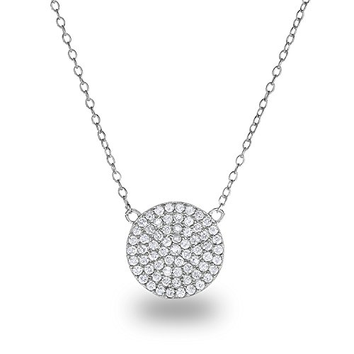 Rhodium-Plated Sterling Silver Cubic Zirconia Pave Disc Circle Chain Necklace,18