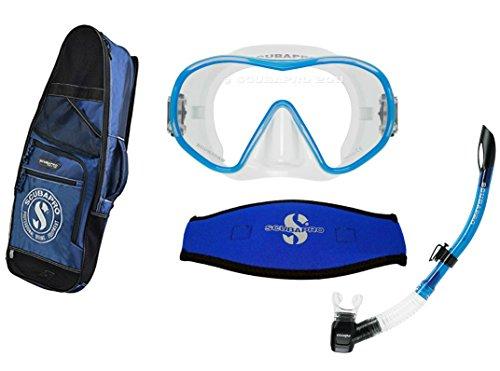 (ScubaPro Solo Dive Mask w/Mask Strap Cover, Escape Semi-Dry Snorkel & Snorkeling Bag)