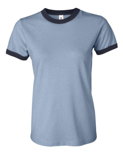 - Bella Canvas Women's Heathered Ringer Jersey T-Shirt, HTHR Blue/Navy, Small