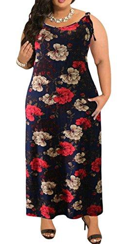 Domple Femmes Été Imprimé Floral Dos Ouvert, Plus La Taille Balançoire Robe Maxi Fines Bretelles 7