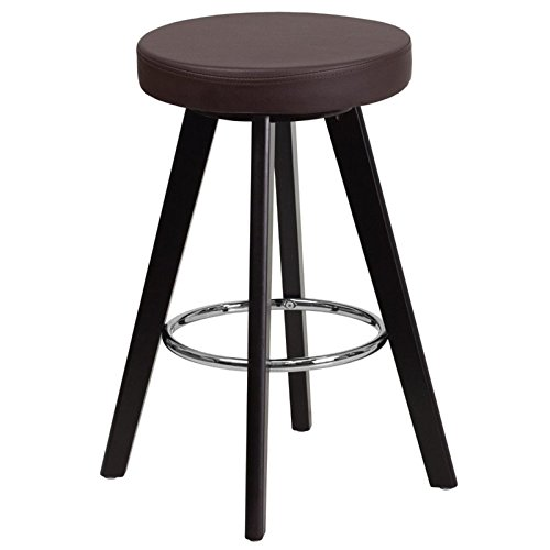 Flash Furniture Trenton Series 24'' High Contemporary Cappuccino Wood Counter Height Stool with Brown Vinyl Seat - Vinyl Backless Stool