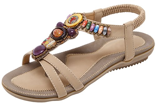 Shiny Beads Sandals Flats Beige Antiskid Women Bohemian Sandals Elastic BIGTREE Beach Summer Multicoloured pXAwn1