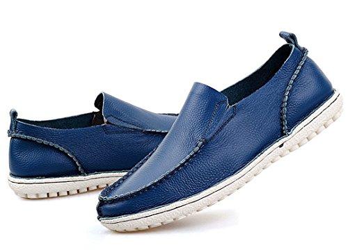 Tda Heren Warm Aanbevolen Comfortabele Lederen Antislip Rijden Zakelijke Jurk Instappers Bootschoenen Blauw