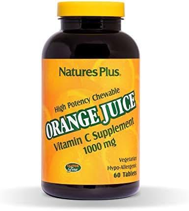 NaturesPlus Orange Juice Chewable Vitamin C - 1000 mg, 60 Vegetarian Tablets - High Potency Immune Support Supplement, Antioxidant - Gluten-Free - 60 Servings