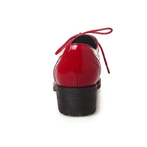 Minivog Paio Di Scarpe Oxford Brogue In Vernice Color Rosso