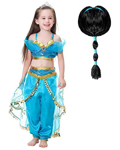 Jasmine Costume Kids with Wig Princess Jasmine Dress for Girls Princess Fancy Dress Halloween Costume Cosplay Dress Up Party Outfit (Age: 8-10 Years, Height 55