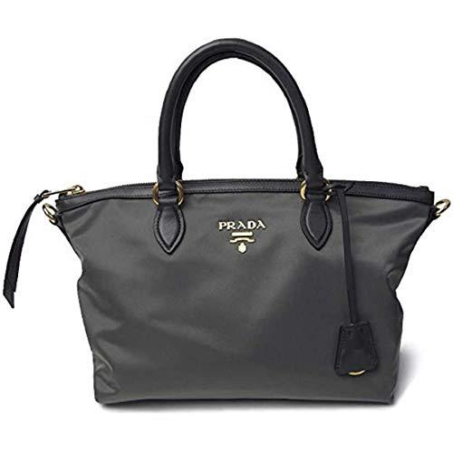 Prada Women's Grey 1BA104 Tessuto Soft Calf Leather Ardesia Cross Body Satchel Handbag