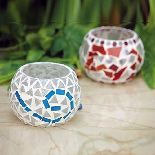 Karguzzari Crackle Glass Candle Holder Votive T Light Holder Home Décor Lighting Gift Tlight Set of 2 (VOT-33X77)