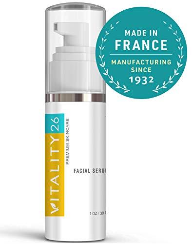 Vitality26 Skin Tightening Serum - Organic Face Brightening Cream - Hyaluronic Acid, Algae Extract, Monoi, Jojoba & Essential Oils - Pore Minimizer Serum - Rich in Omega 3-1 Oz