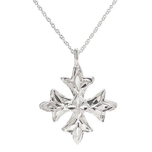 Sterling Silver Maltese Cross Pendant Necklace, 18