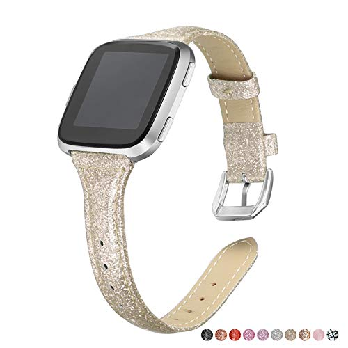 bayite Bands Compatible Fitbit Versa, Shiny Gold, Glitter Slim Leather Band Replacement Strap Accessories Women Men (5.3