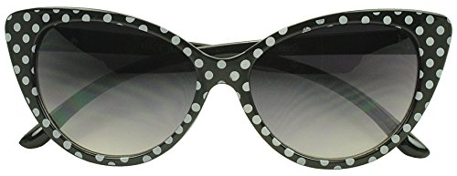 [Sunglass Stop - Super High Pointed Fashion Polka Dot Cat Eye Mod Sunglasses (Black, Gradient Lens)] (60s Mod Girl Costumes)