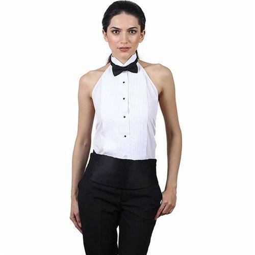 SixStarUniforms Women's Tuxedo Halter Shirt and Black Bow Tie Set