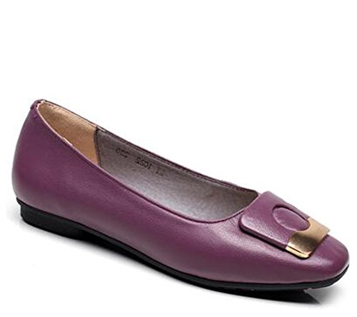 Dormery 2018 New Autumn Soft Woman's Flat Shoes Square Toe Fashion Woman Flats Elegant Comfortable Women's Genuine Leather Loafer C015 Purple 5
