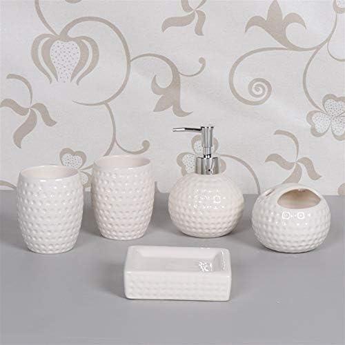 FXin バスルームアクセサリー、セラミック素材、バスルームウォッシュセット5個セット中国結婚式赤キット、5色 シャワー室 (Color : White)