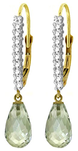 4.8 CT 14k Solid Gold Leverback Earrings with Natural Diamonds and Briolette Green Amethysts