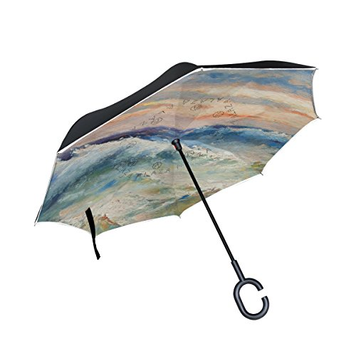 (My Daily Double Layer Inverted Umbrella Cars Reverse Umbrella Sea Waves And Storm Oil Painting Windproof UV Proof Travel Outdoor)