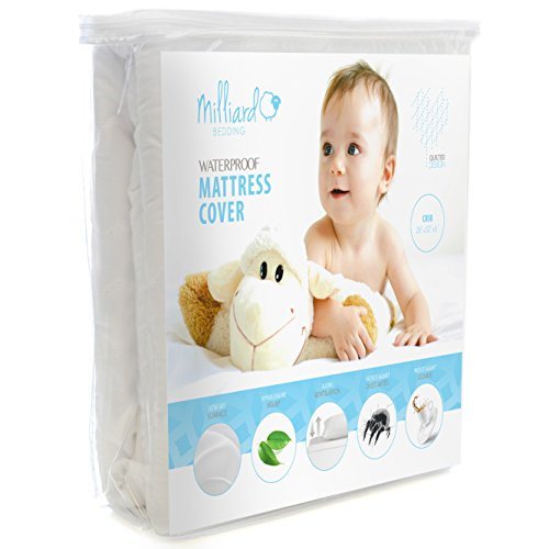 - Milliard Quilted, Waterproof Crib and Toddler Mattress Protector Pad, Premium Hypoallergenic Fitted Cover with Extra Padding 28x52x6