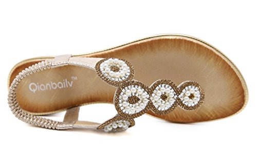 Pearl Sexy Non Comfortable Women's Shoes Bohemia slip Soft Summer Thong Sandals beige Leather Slippers Beautiful Ubeauty np6Uxx