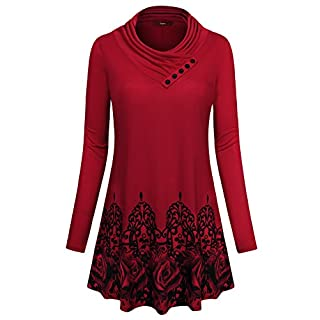 Gaharu Pullover Tunic Shirt, Womens Long Sleeve Cowl Neck Elegant Floral Printed Daily Wear Tops with Leggings (Large,Wine)