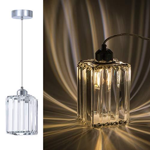 - ShengQing Crystal Mini Pendant Light in Chrome Finish 1-Light Modern Square Shape Crystal Pendant Lighting Fixture for Kitchen Island Dining Room Bedroom Foyer