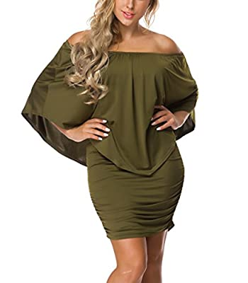 VOIANLIMO Women's Off the Shoulder Ruffles Sexy Bodycon Mini Dress