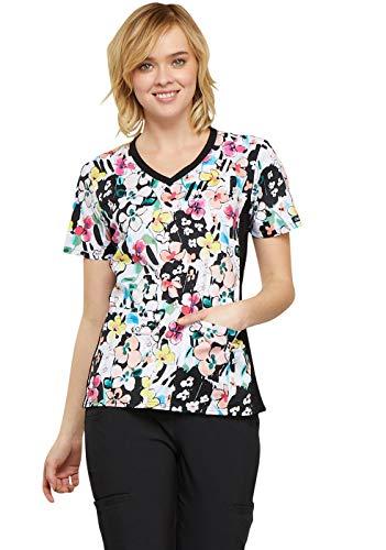 (Cherokee Fashion Prints Women's V-Neck Knit Panel Floral Print Scrub Top X-Large)