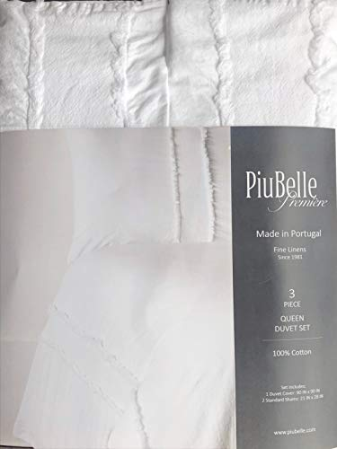 Piubelle Portugal Solid White 3pc Duvet Cover Set with Fringed Edges Shabby Chic French Farmhouse Style Comforter Quilt Cover 100% Cotton Luxury - Hobbes Percale (Queen)