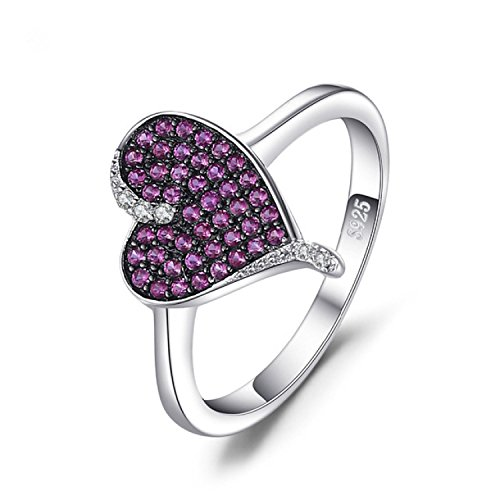 Infatuation Romantic Heart 0.3Ct Created Red Ruby Rings Made With 925 Sterling (Ruby Pave)