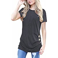 SanCanSn Tops Clearance! Casual Tee Lady Loose Blouse Solid Color Round Neck Short Sleeve T-Shirt