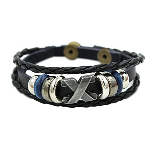Wild Wind (TM) Christmas Mysterious X Multi Braided Silver Tone Plate Adjustable Leather Bracelet (Jelly Bracelts)