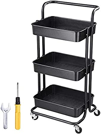 Amazon Com Multi Purpose Black Rolling Utility Cart Storage 3 Tiers Wheeled Trolley Mobile Organizer For Home Kitchen Spa Hotel Office Products