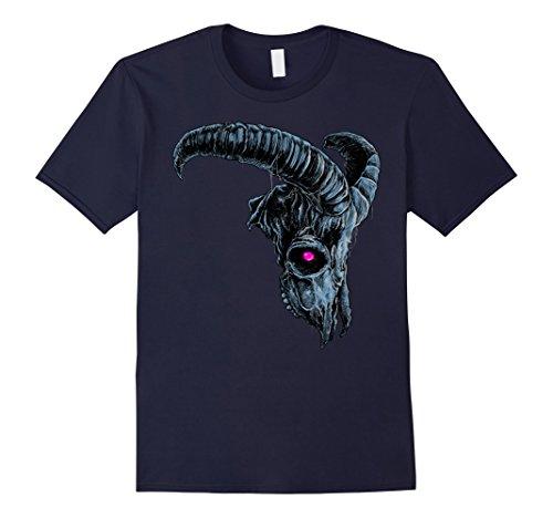 Mens Nightmare Halloween Demonic Goat Skull Costume T-shirt 2XL Navy - Demonic Costumes