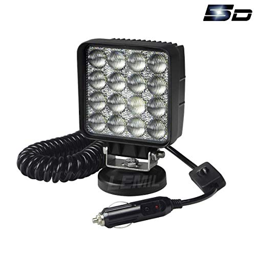 LEMIL - 48W 5D Lens LED Work Light 12V Flood Light Off Road Flood Beam Lamp with Magnetic Base Waterproof Emergency Light for SUV Truck Boat Bar Jeep Lamp 12V 24V