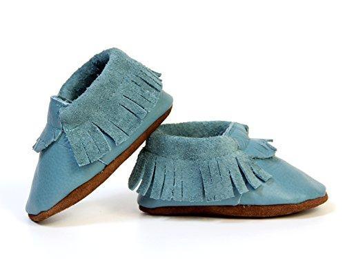Krabbelschuhe Baby Mokassins / Lederpuschen blau (20)
