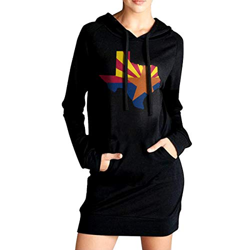 Womens Texas Arizona Flag Long Hoodies, Casual 100% Cotton Blouses Top for Womens ()