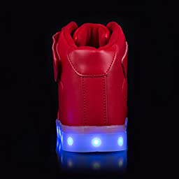 AFFINEST High Top USB Charging Light Up Shoes LED Shoes Flashing Fashion Sneakers For Kids Boots(Big Kid US4.5/EU37, Red)
