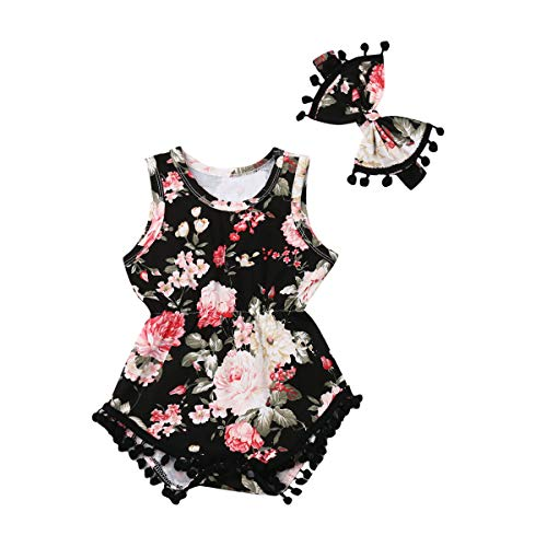 Summer Tassel - Infant Baby Girls Floral Pompom Tassels Romper Bodysuit Sleeveless Jumpsuit Outfit with Headband Summer Clothes (Floral-Red+Black, 18-24 Months)