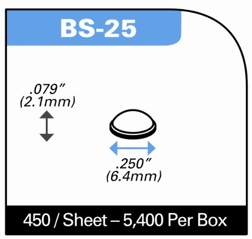 Round Self-Adhesive Rubber Bumper Feet, Stops, and Spacers .250'' inches (6.4 mm) x .079'' inches (2.1 mm) - 450 pack - BS25 Black by Bumper Specialties, Inc. (Image #1)